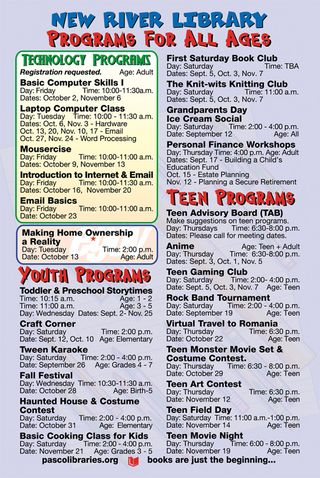 New River Library Schedule