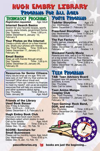 Dade City's Hugh Embry Library Calendar