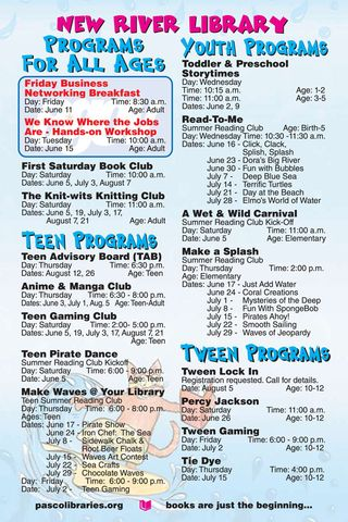 New River Summer Schedule
