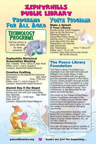 Zephyrhills Library Summer Schedule