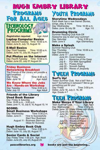 Hugh Embry Summer Schedule