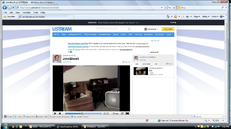 Screen Capture of My UStream TV page