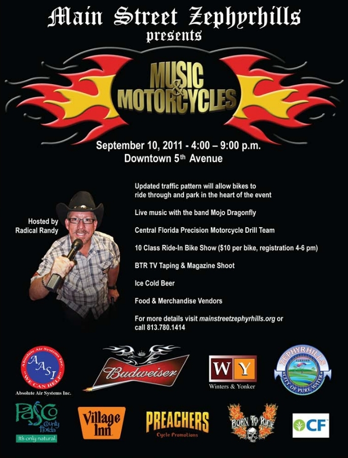 Music and Motorcycles Flyer 2011