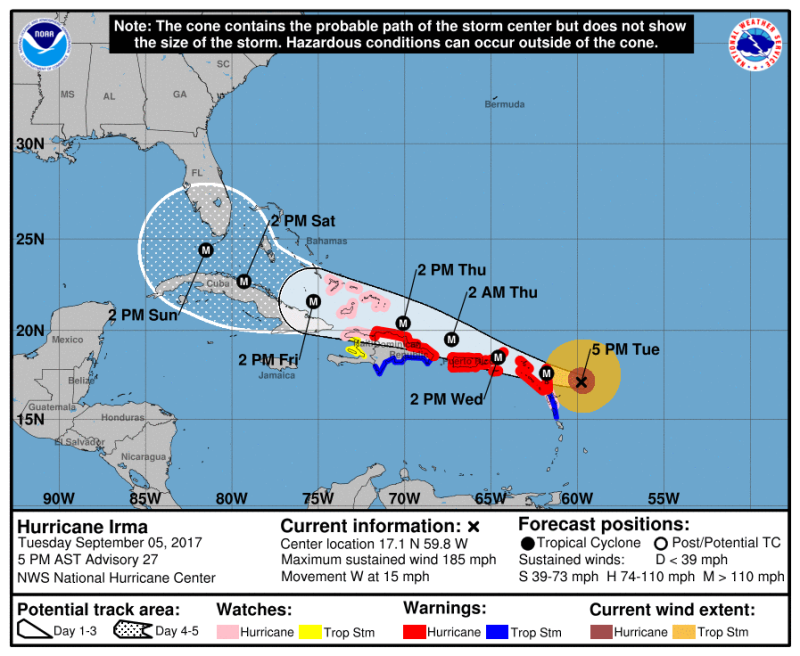 Hurricane Irma as of Tuesday  Sept 5  5  PM Eastern Time