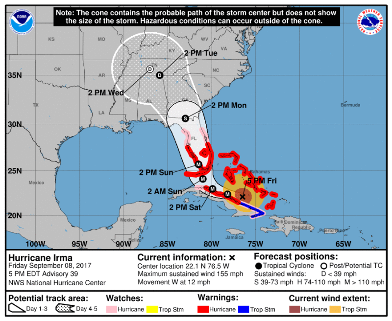 Hurricane Irma as of Friday evening  Sept. 8  2017